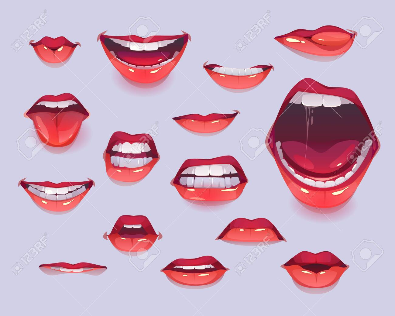 Woman mouth set. Red lips expressing different emotions as happy smiling, shouting, show tongue, kiss, angry gritting teeth. Design elements, icons, stickers. Cartoon vector illustration clip art - 138080566
