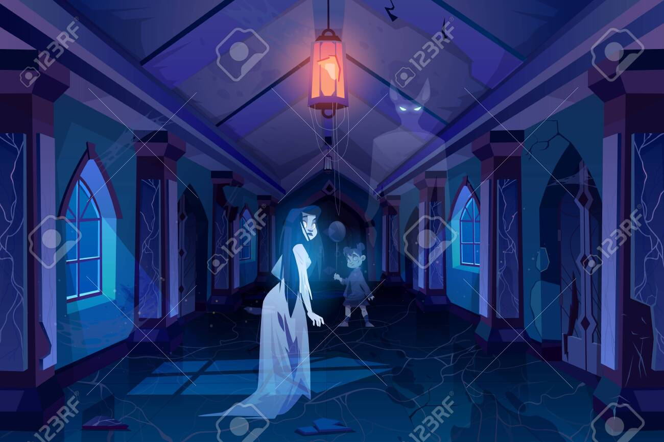 Old castle hall with ghosts walking in darkness. Scary corridor with doors and windows. Abandoned palace interior with moonlight falling on floor, halloween spooky scene. Cartoon vector illustration - 138080185