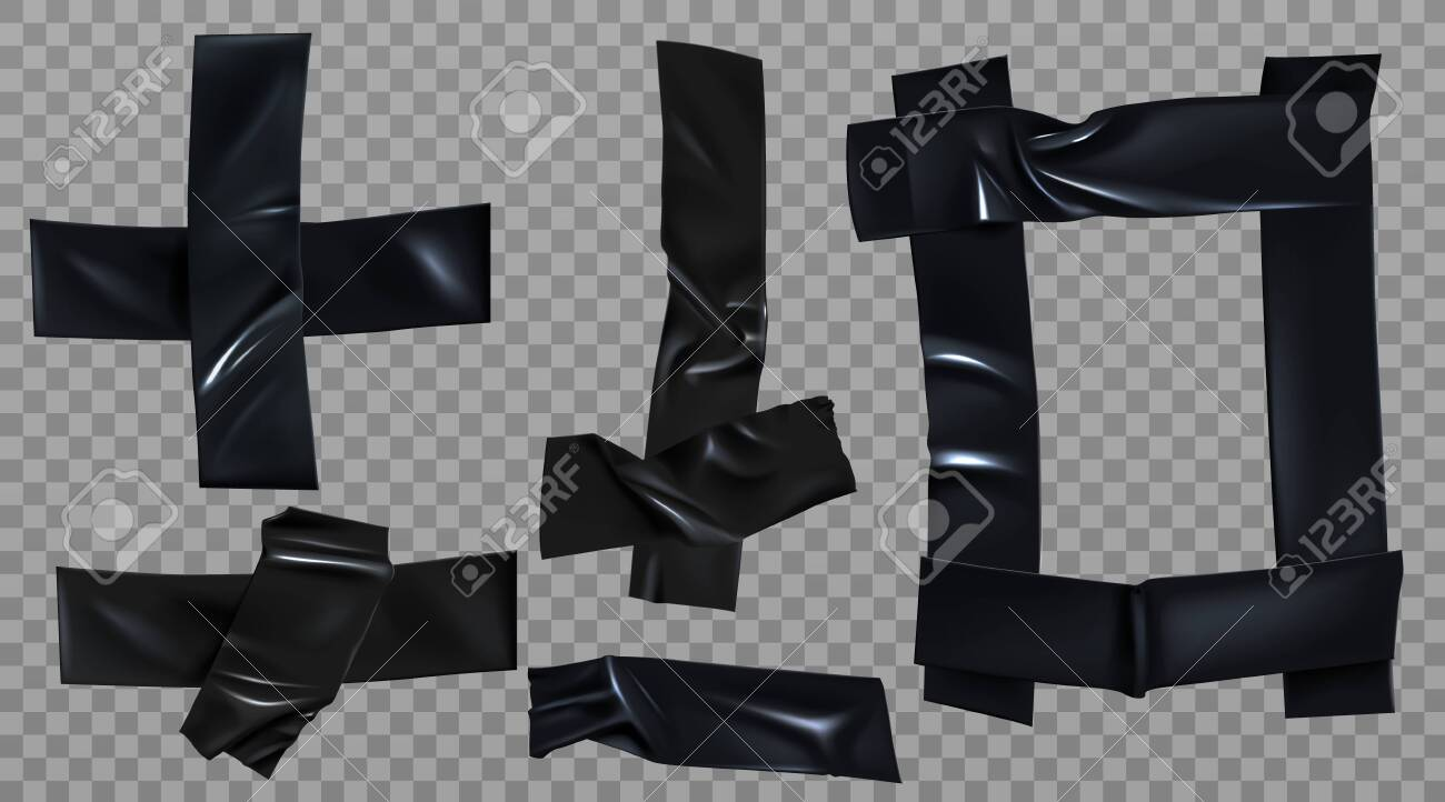 Black duct tape set. Insulating adhesive stripe, square and cross shape, glued sticky scotch pieces for fix, repair or packaging isolated on transparent background Realistic 3d vector illustration - 138590131