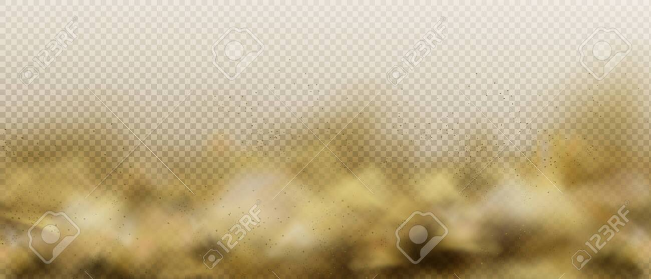 Dust sandy cloud, air pollution fog or smoke, brown heavy steam with motes sand and soil particles isolated on transparent background. Thunderstorm in desert Realistic 3d vector illustration, clip art - 138590143