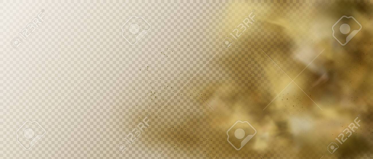 Dust or smoke cloud, brown heavy smog steam with motes, sand and soil particles right side frame isolated on transparent background. Cigarette vapor element. Realistic 3d vector illustration, clip art - 138590134