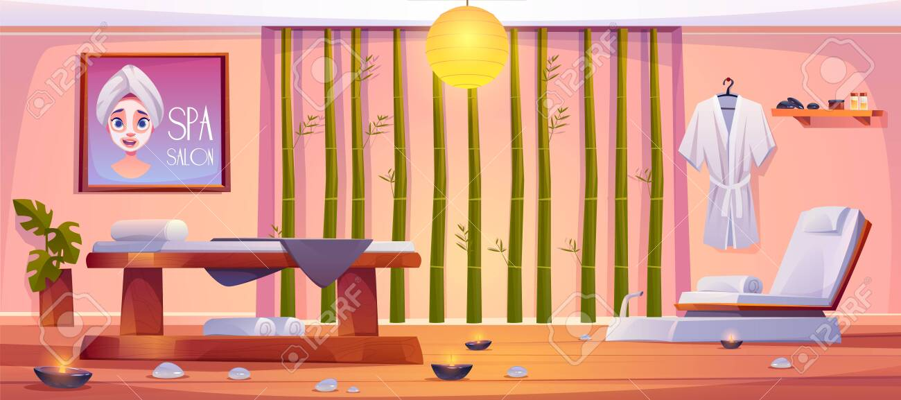 Spa salon interior, empty room with professional equipment and furniture. Clean linen lying on massage couch and chair with burning candles around, bamboo sticks wall. Cartoon vector illustration - 138643835