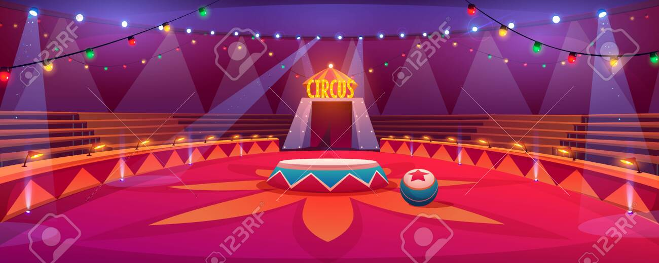 Circus arena, classic round stage under marquee dome with seats, garlands and spotlights. Empty carnival ring tent in amusement family theme park, entertainment performance Cartoon vector illustration - 137070472