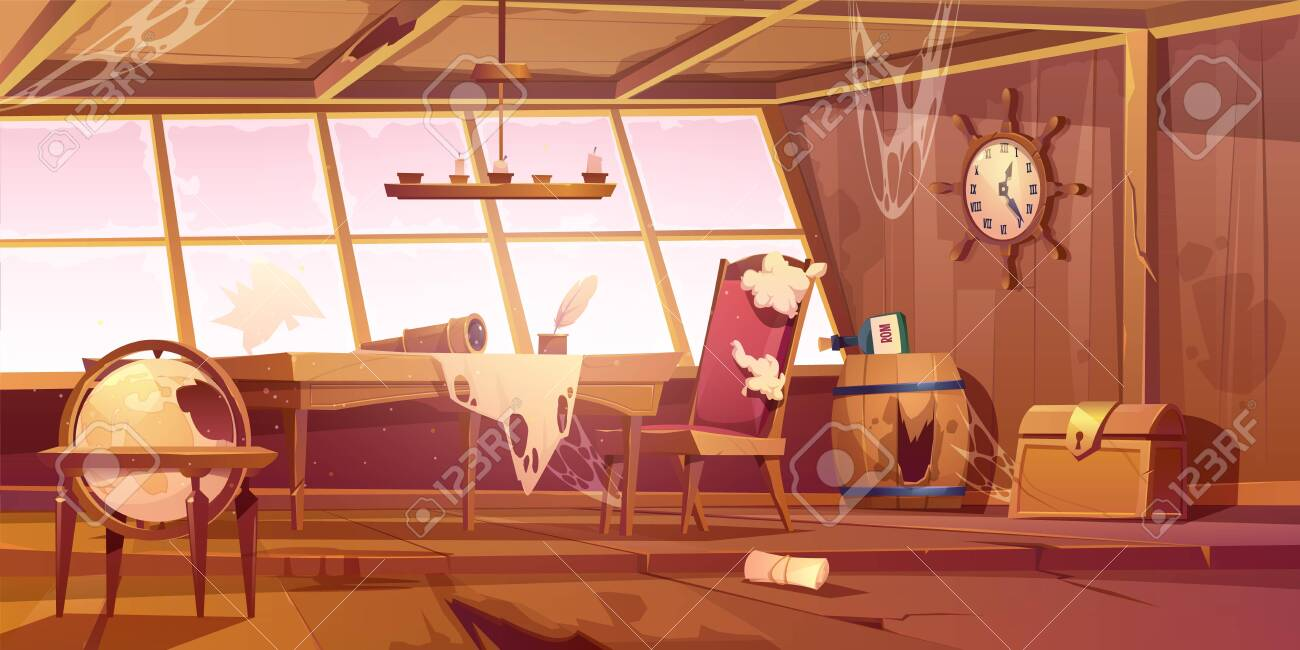 Abandoned pirate ship cabin. Vector cartoon illustration of empty destroyed interior of old wooden room with broken furniture and windows, messy walls with spiderweb. Scary Halloween background - 137677047