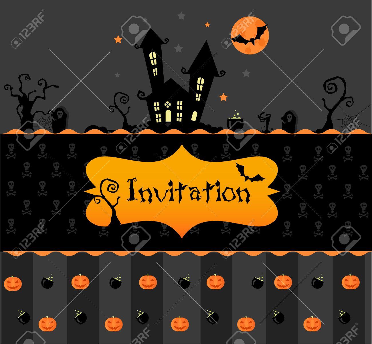 Vector halloween invitation card with pumpkns bats and black vector halloween invitation card with pumpkns bats and black house stock vector 10551569 stopboris Gallery