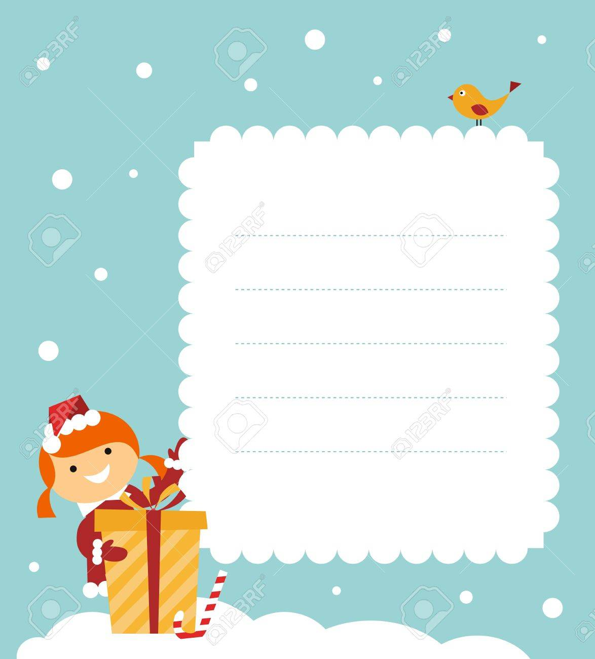 Christmas card: cute little girl with a gift Stock Vector - 10578151