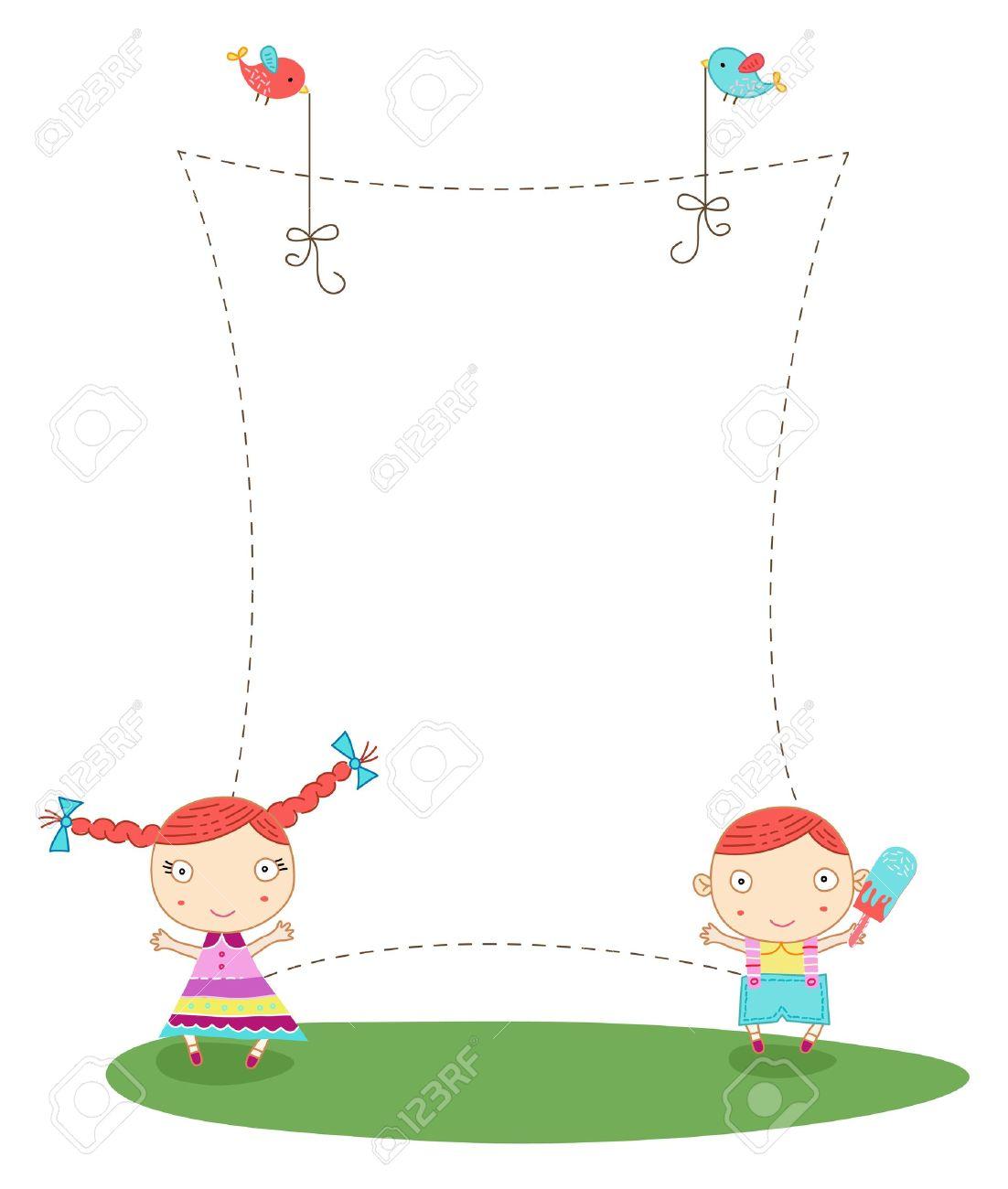 Cute Cartoon-Rahmen Mit Einem Jungen Und Einem Mädchen Lizenzfrei ...