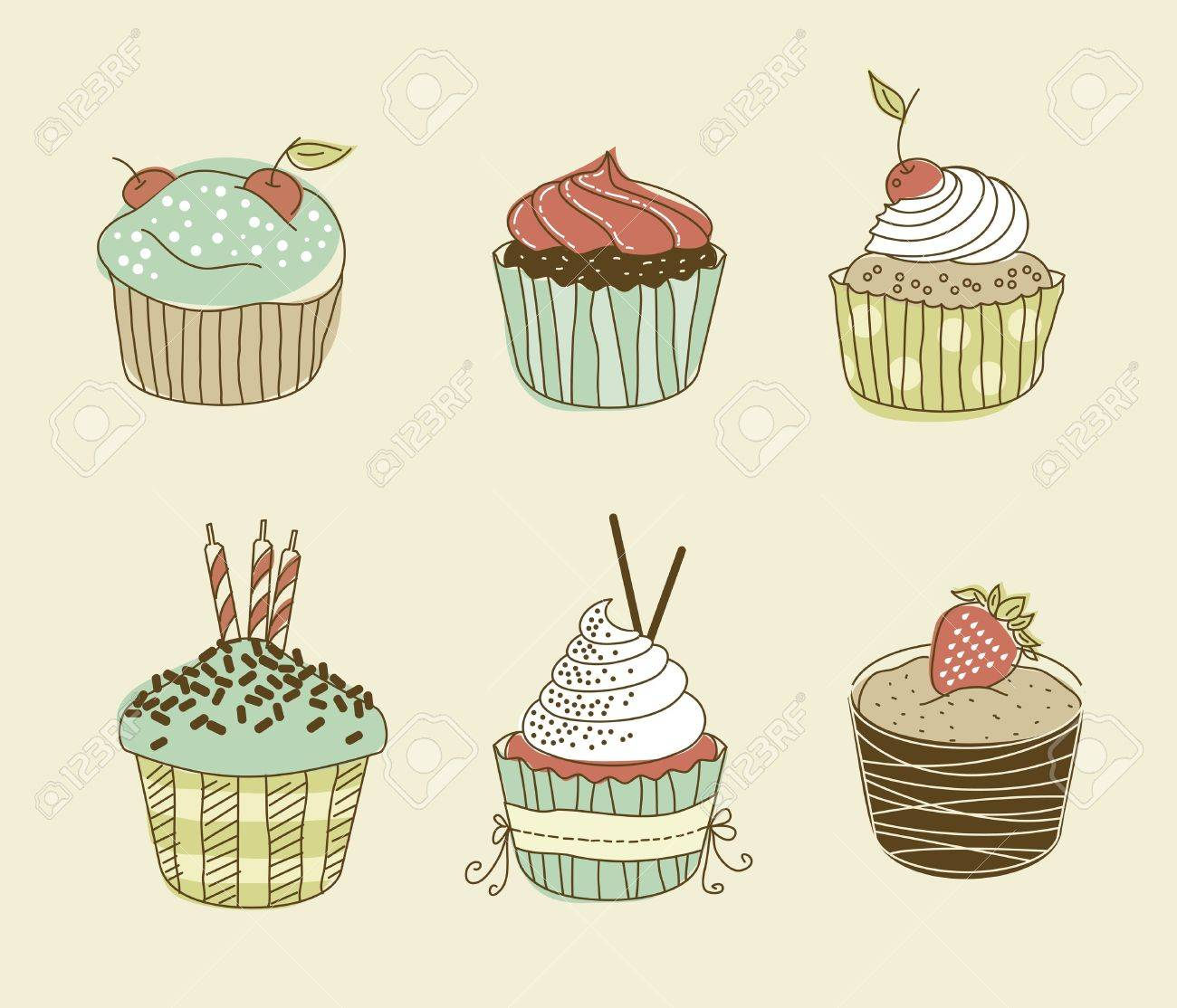 Vector illustration of six delitious cupcakes in retro style Stock Vector - 12386488