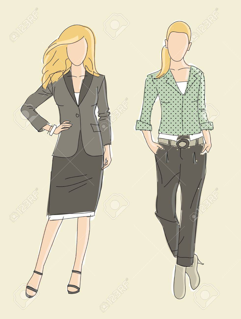 Very cute vector hand drawn Fashion illustration business women Stock Vector - 12386490