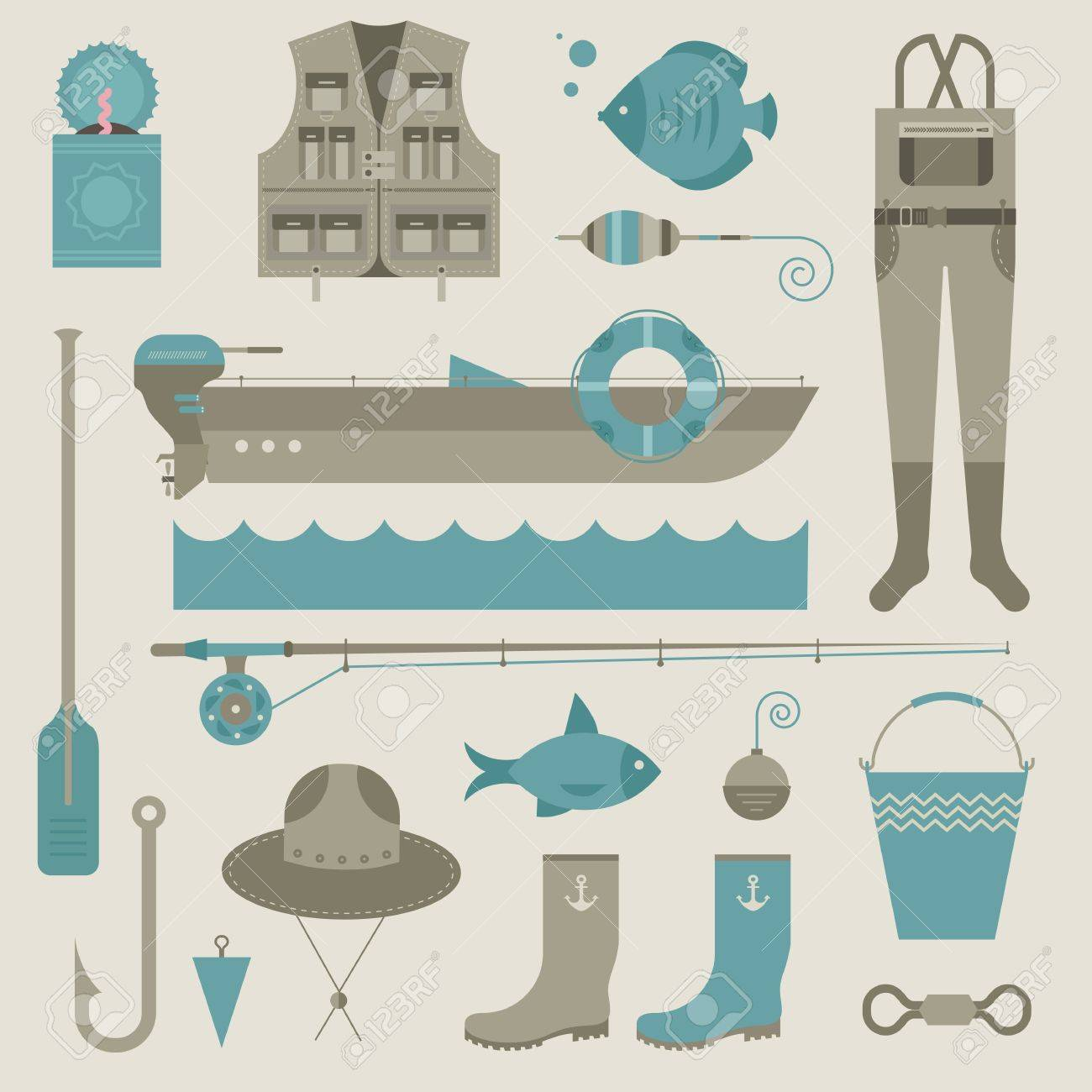 set of various stylized icons for fishing - 21660890
