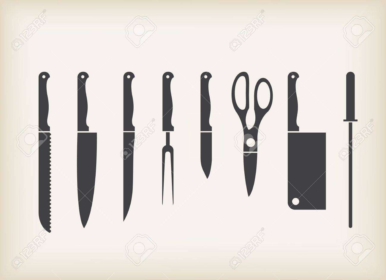 Kitchen Knife Vector icons of kitchen knife stylized set royalty free cliparts, vectors