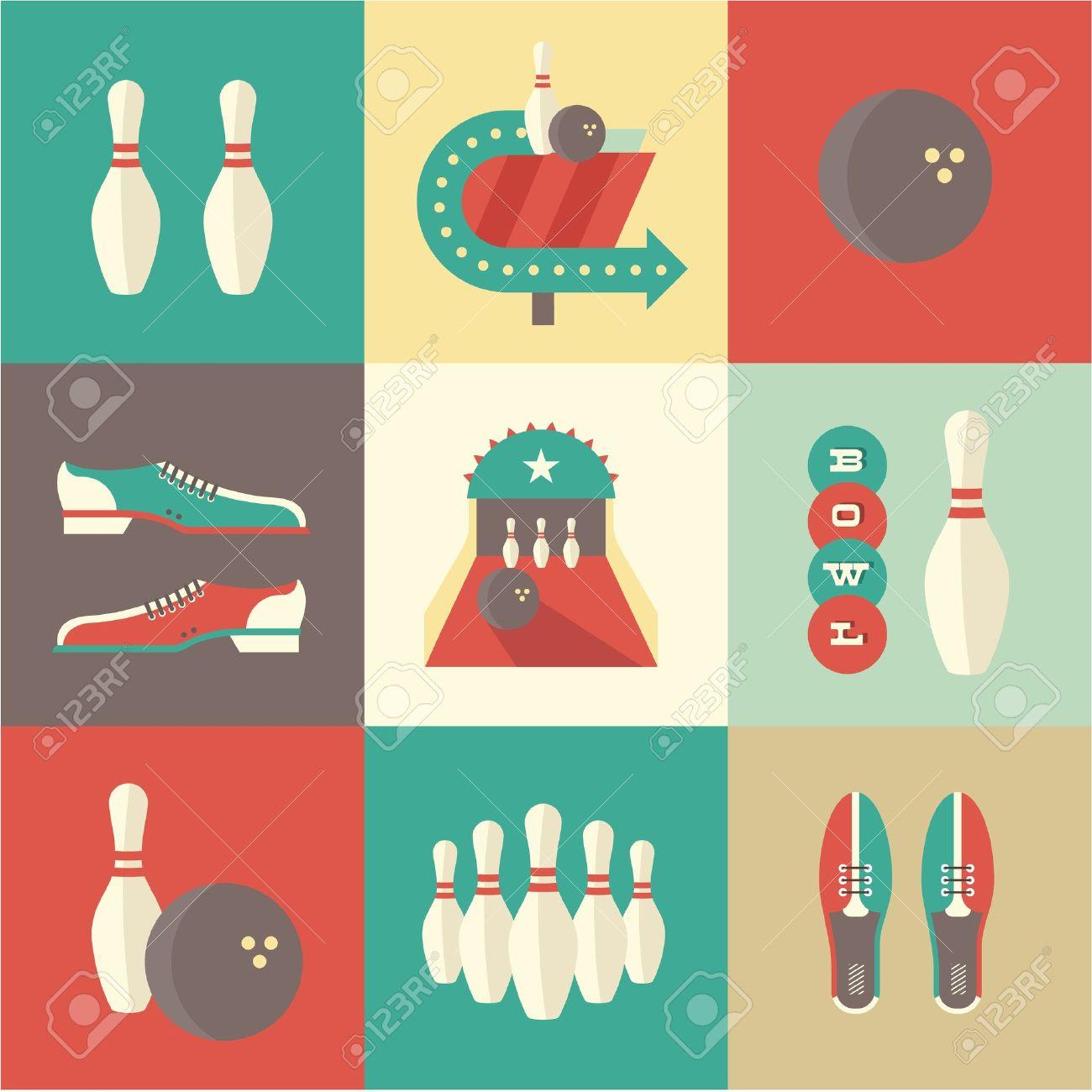 vintage bowling icons - 21660982