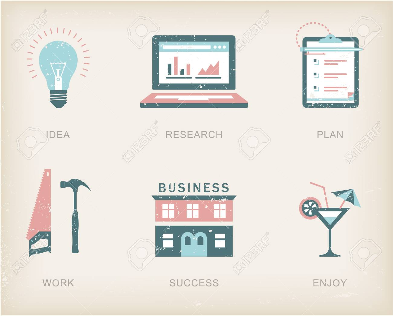 icons for a business success process Stock Vector - 21661047