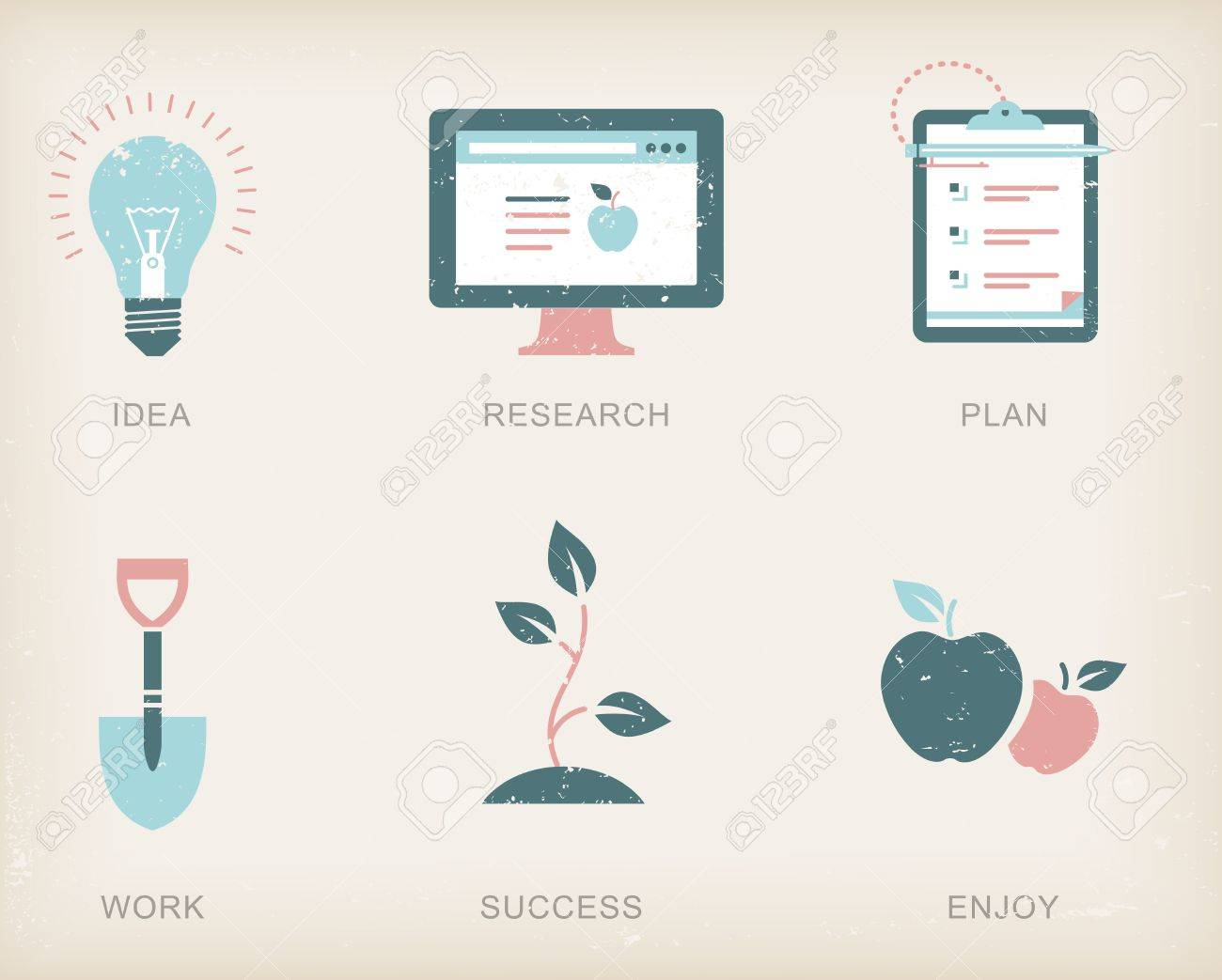 icons for a business success process Stock Vector - 21661048