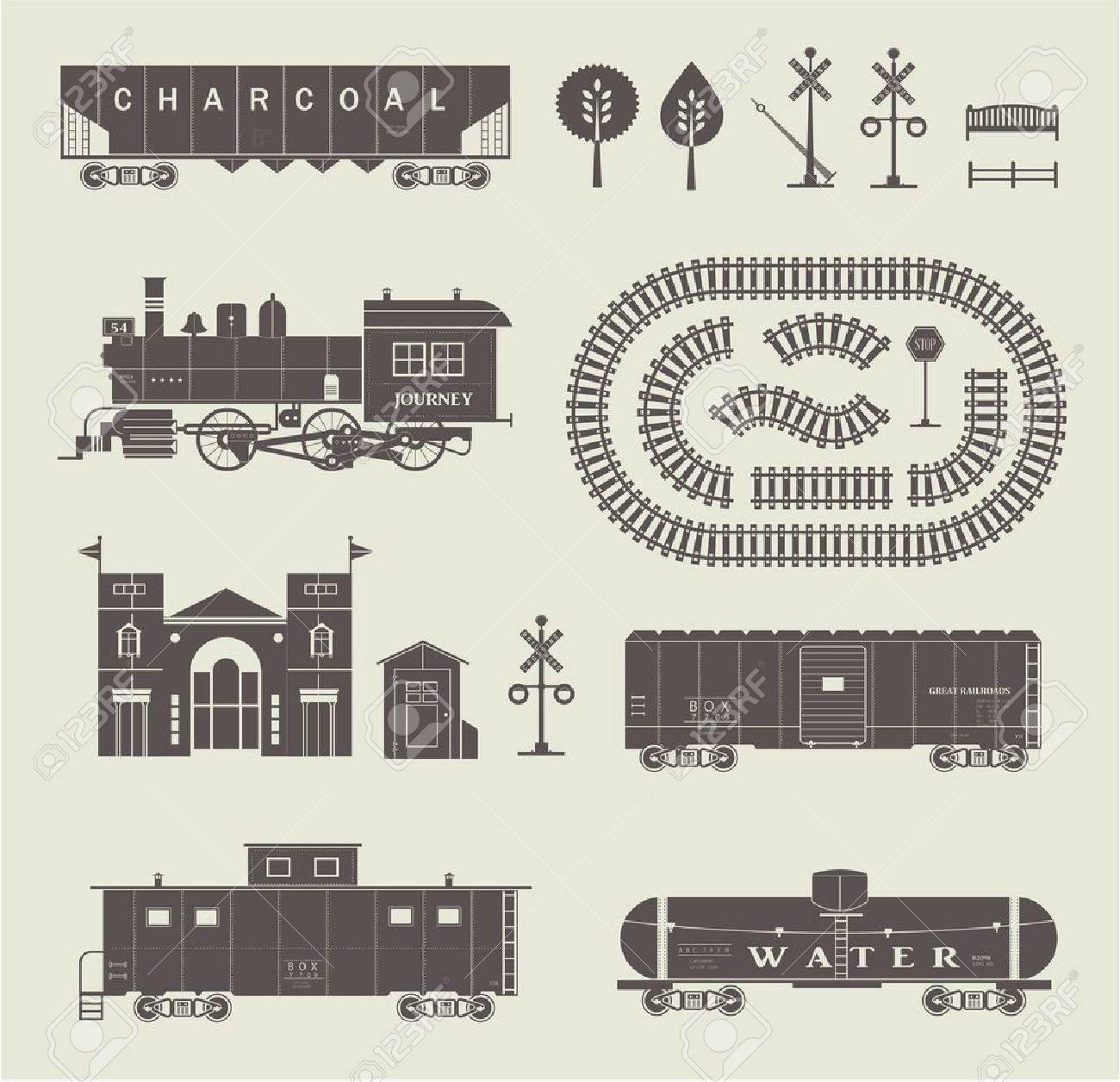 Vector set of various elements of railroad trains - 21661053