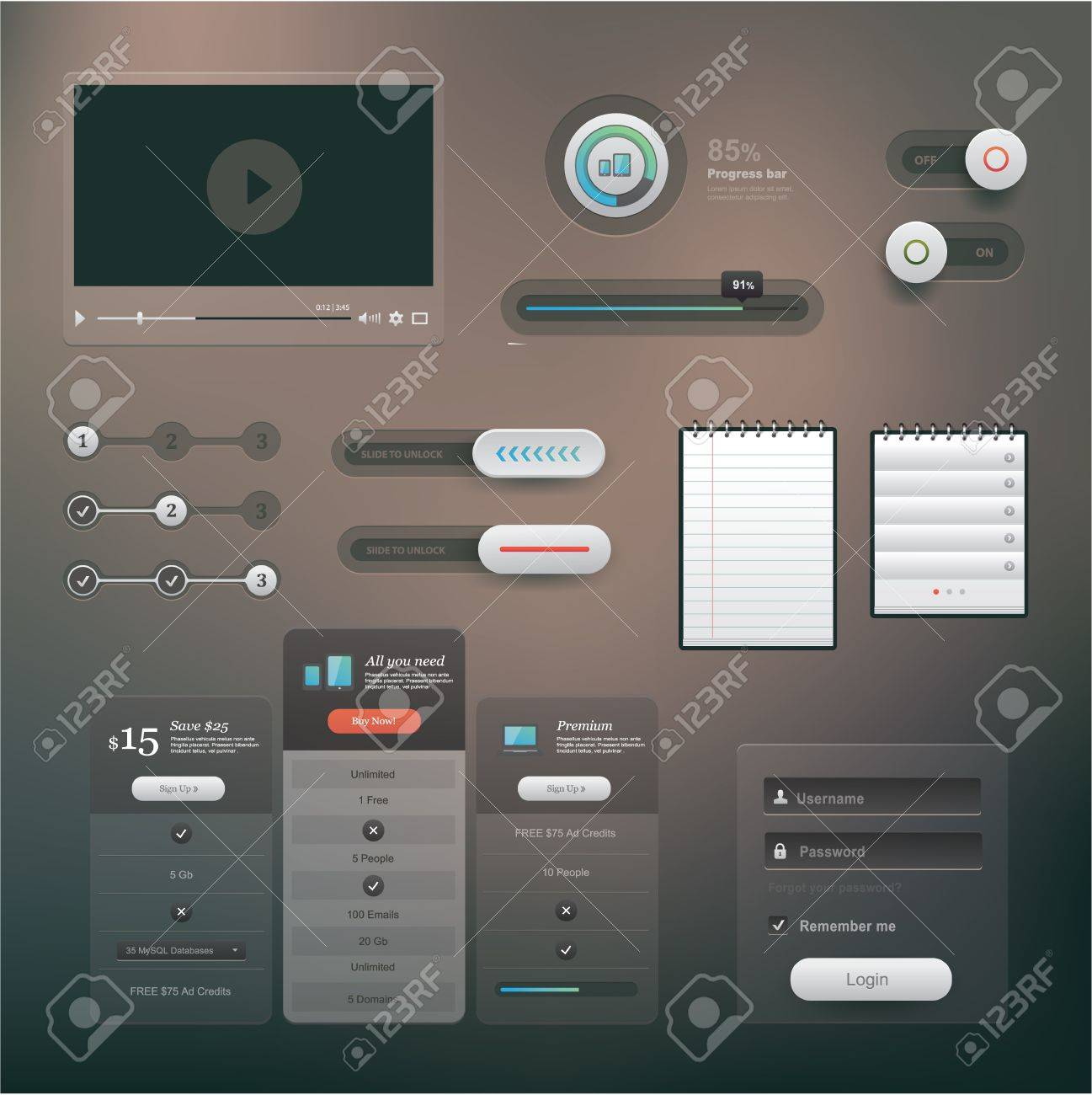 set of various elements used for User Interface projects Stock Vector - 21661062