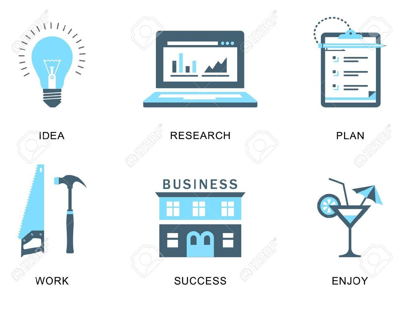 icons for a business success process Stock Vector - 21661080