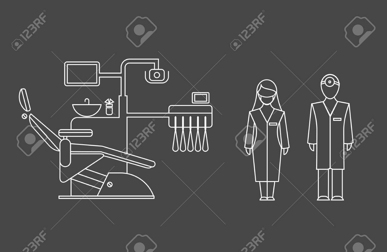 set of dentist icons of doctors and their equipment Stock Vector - 21661086