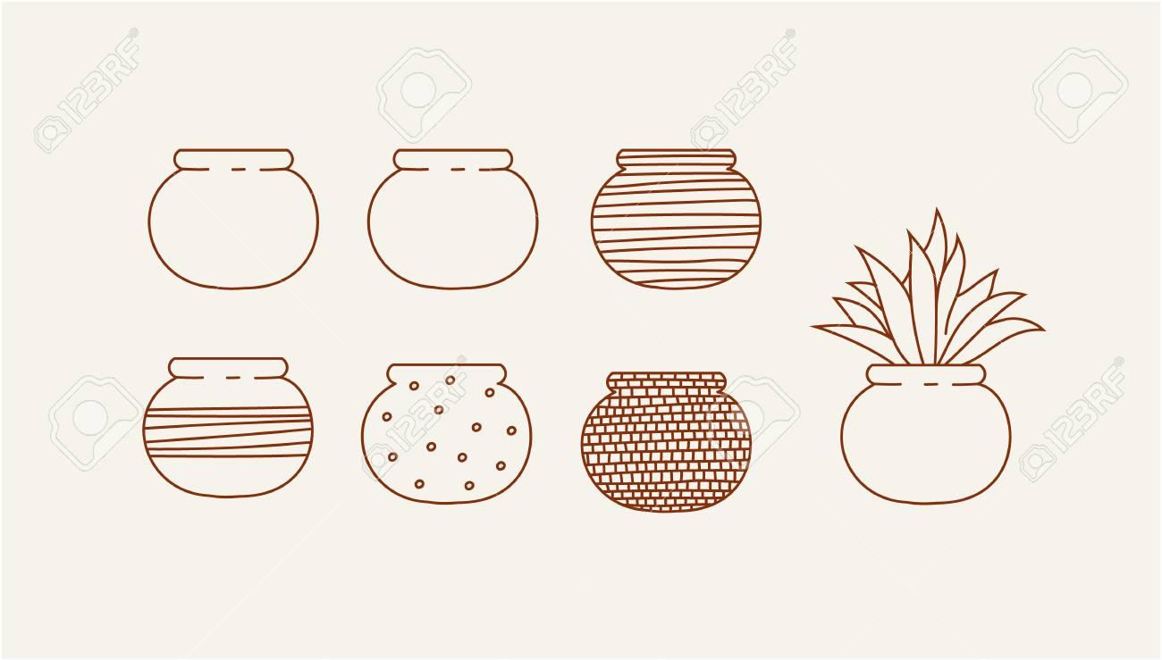 花瓶と花デザイン ベクトル イラストを落書きのイラスト素材ベクタ