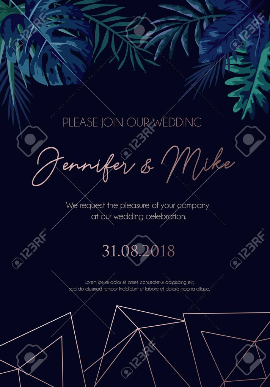 Save The Date Invitation On Navy Blue Background With Rose Gold