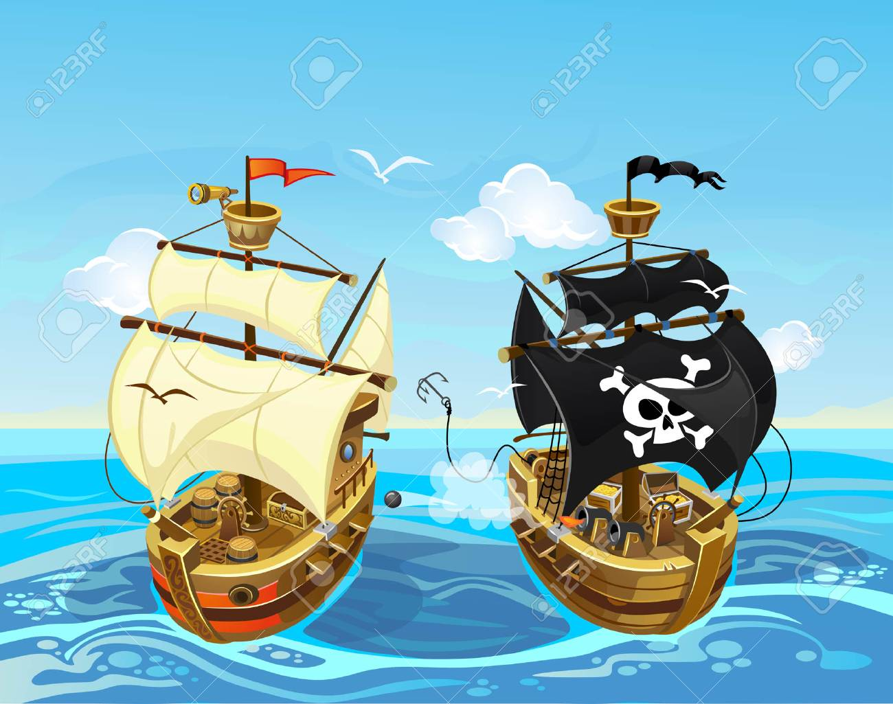 Colorful illustration with pirate ship battle in the sea. Vector cartoon pirate illustration. - 110240594