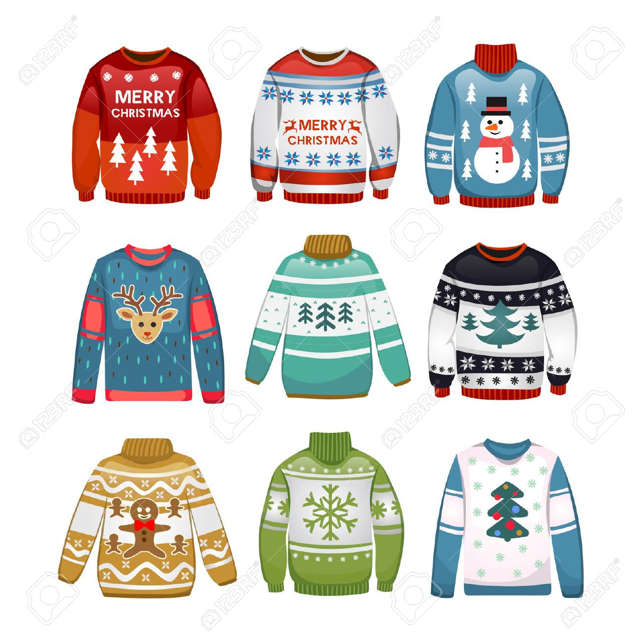 432e8b957b7c Ugly sweaters set. Christmas sweaters isolated on white background. Vector  illustration Stock Vector -