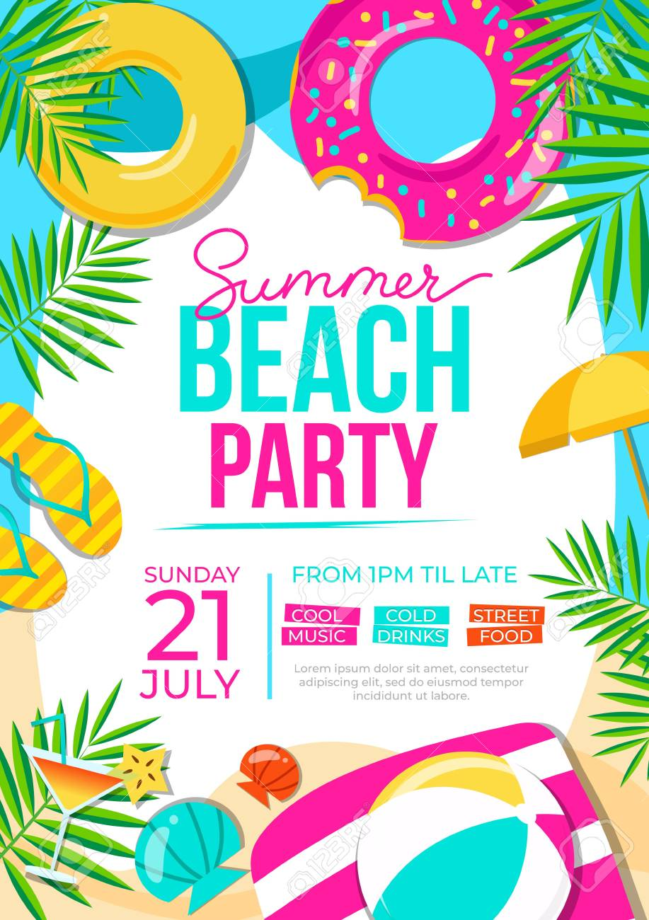Summer Beach Party Poster Summer Party Colorful Invitation