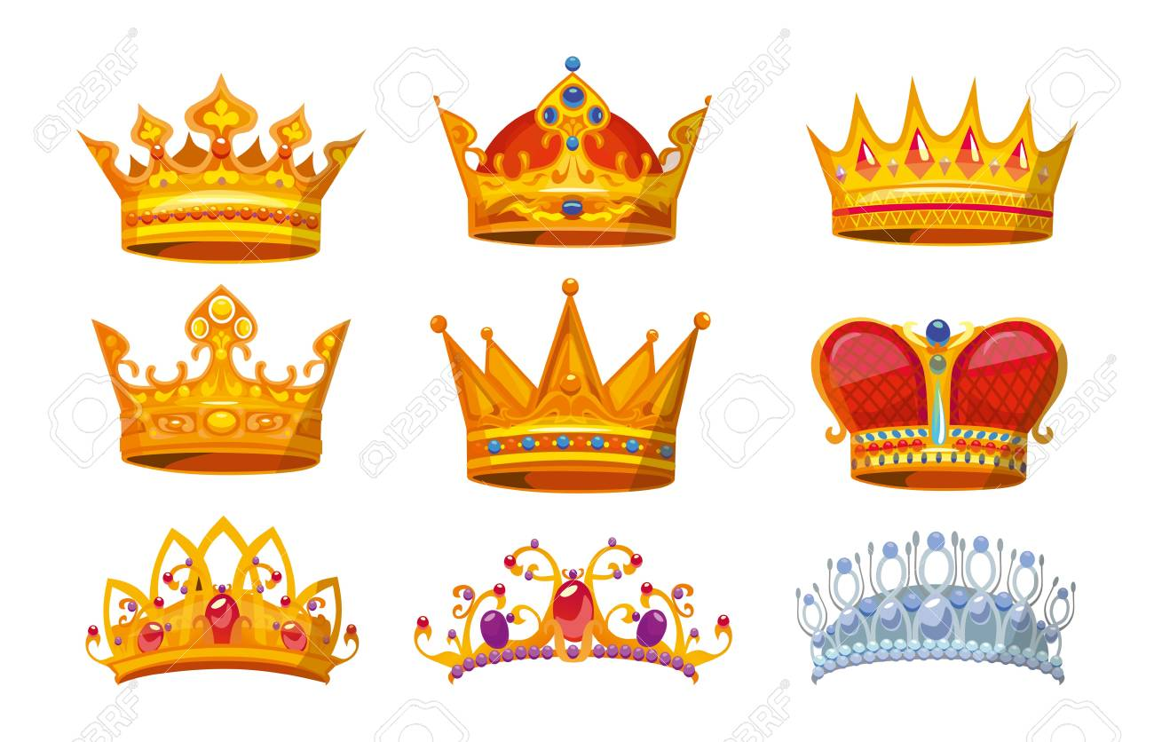 Set Of Colorful Crowns In Cartoon Style Royal Crowns From Gold Royalty Free Cliparts Vectors And Stock Illustration Image 121638454 11,763 monarchy cartoons on gograph. set of colorful crowns in cartoon style royal crowns from gold
