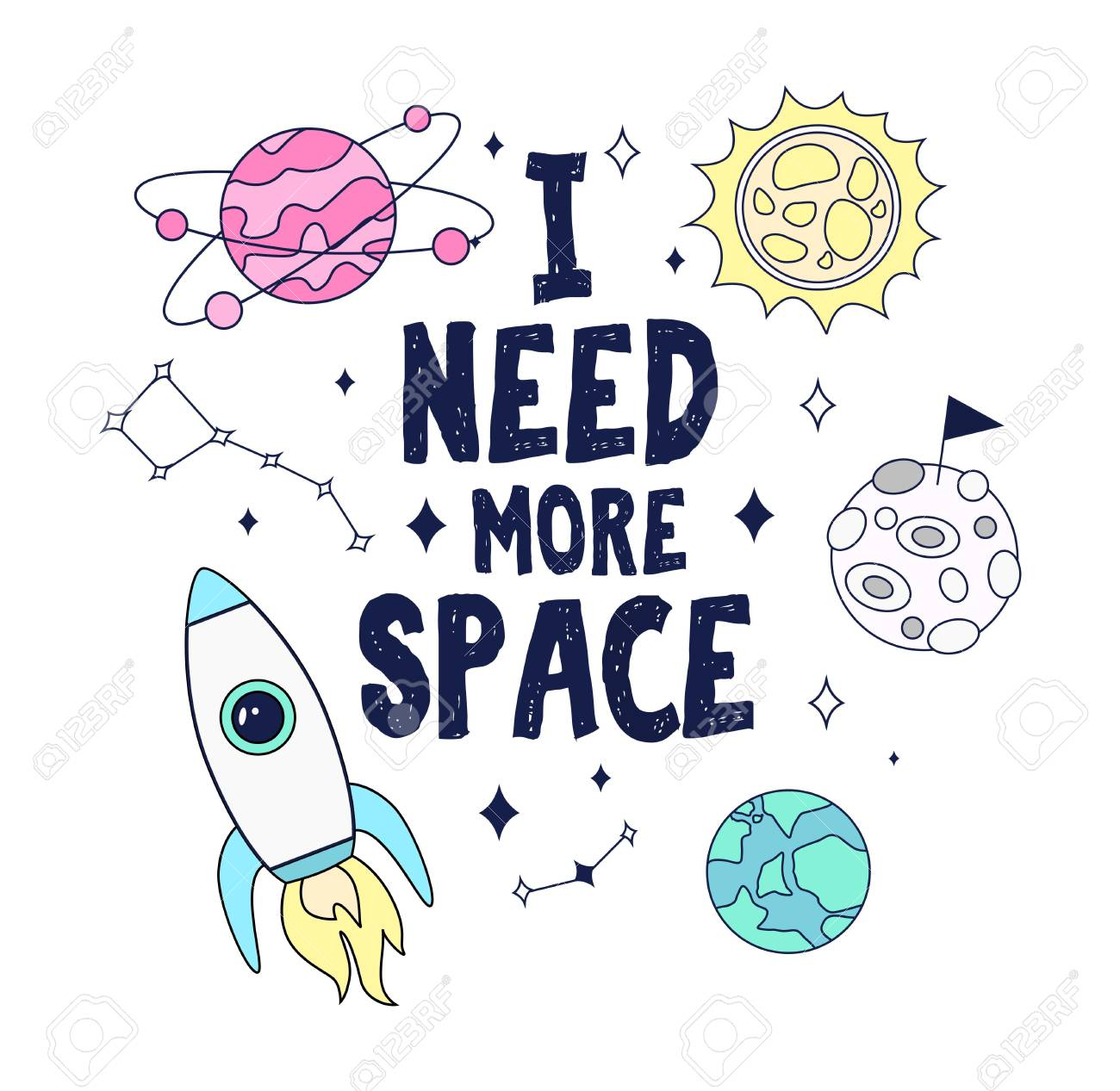 I need more space. Colorful space card design with rocket, planets and stars. Vector illustration - 121869796