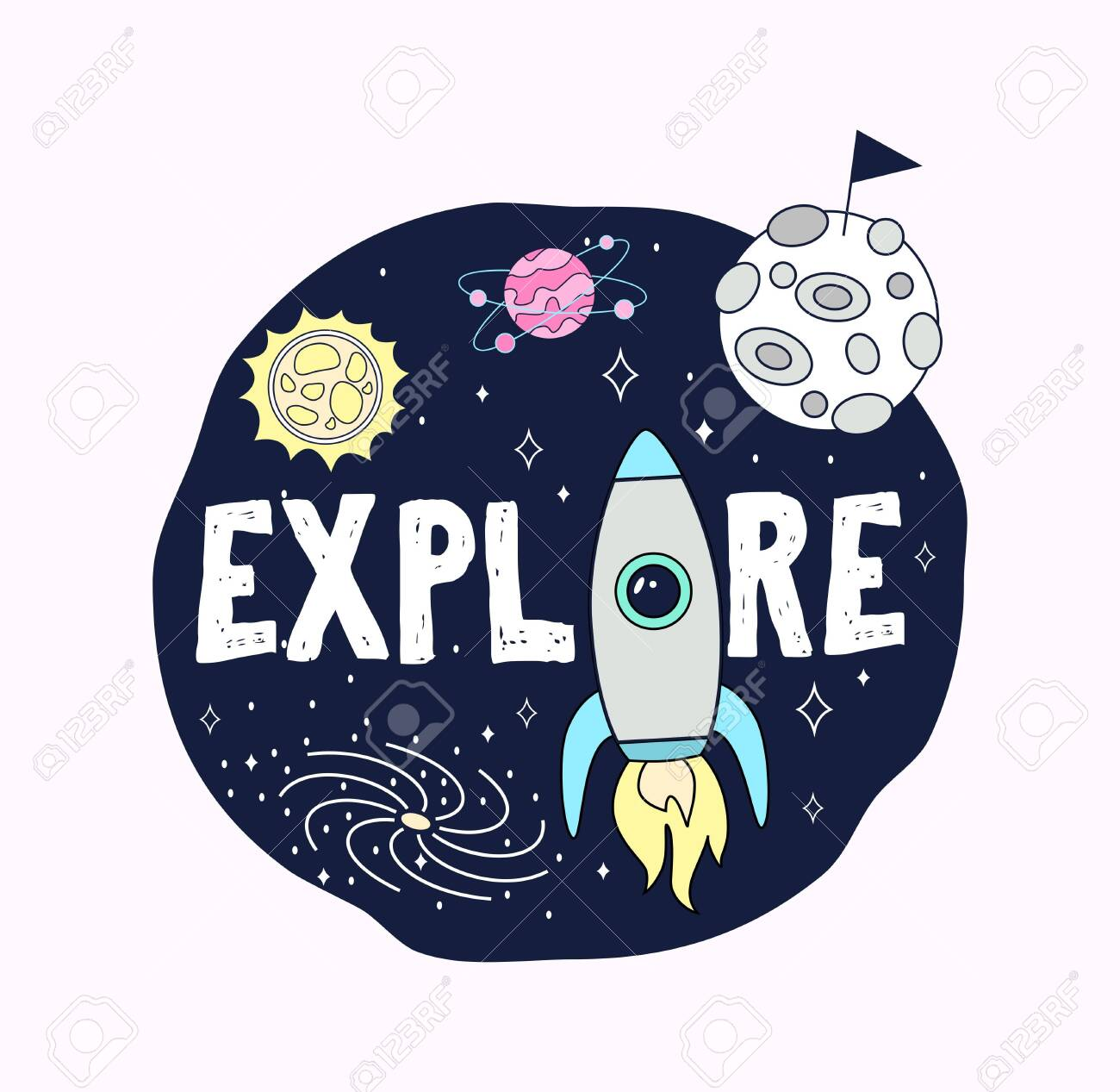 Space print concept. Explore space card with planets, stars and rocket. Cosmic greeting card or print design. Vector illustration - 122756781