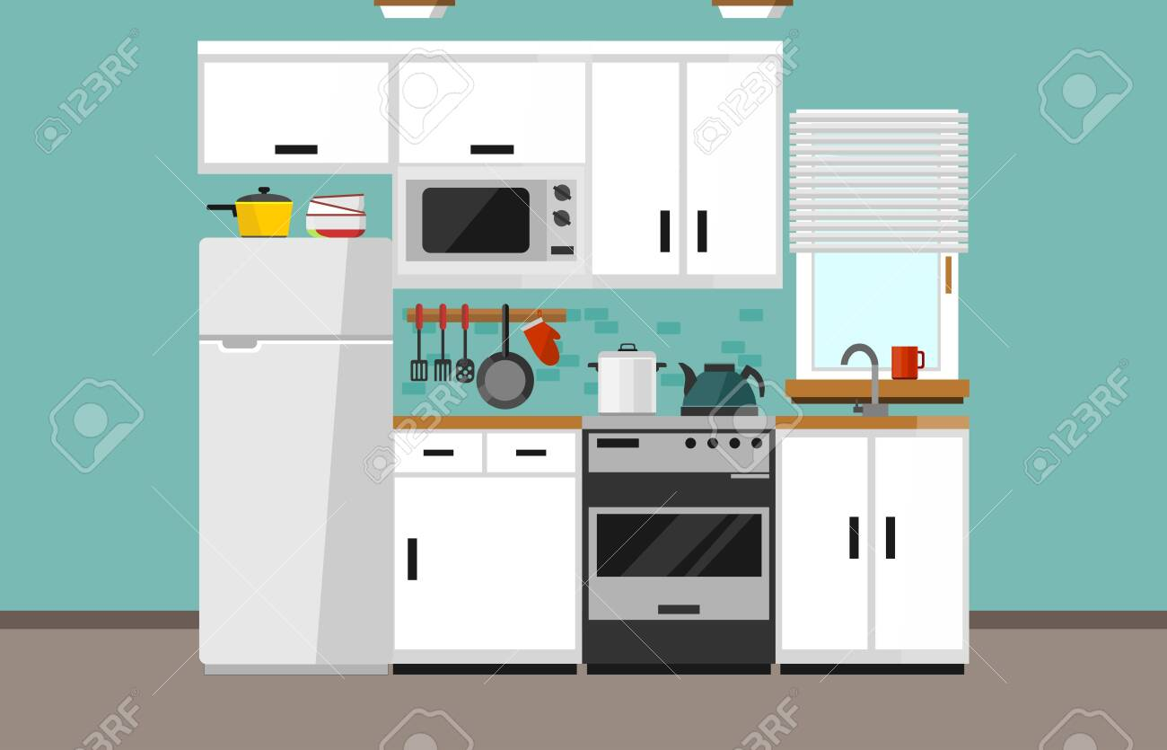 Modern kitchen illustration in flat style. Cartoon white kitchen design with white facade, microwave oven, fridge, window, sink, oven and kitchen supplies. Vector illustration - 129337387