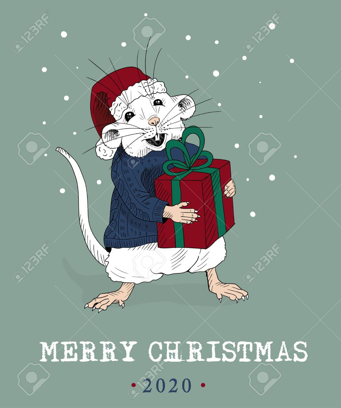Merry Christmas Funny Images.Merry Christmas Funny Mouse Friend Sketched Card Vector Illustration