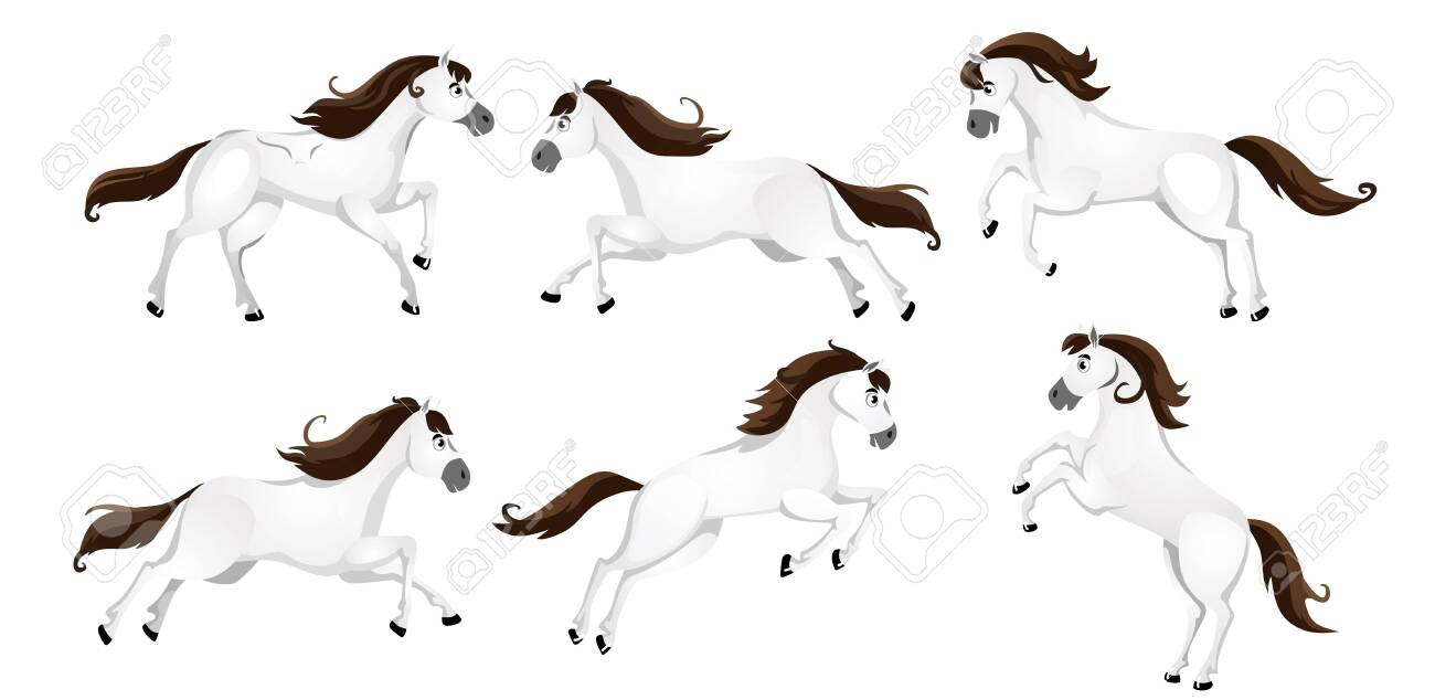 Set Of Cartoon Horses In Different Poses Vector Illustration Royalty Free Cliparts Vectors And Stock Illustration Image 138299551