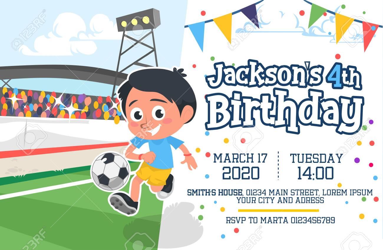 cute happy birthday party invitation card vector illustration
