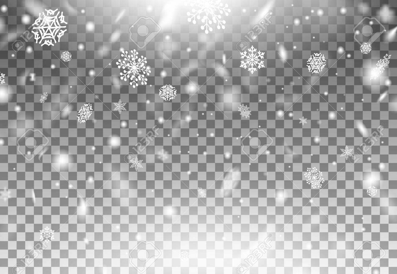 Realistic beautiful winter snowflakes falling down vector illustration. White snowflakes flying in air flat style. Magic snowfall texture. Christmas design concept. Transparent background - 147960688