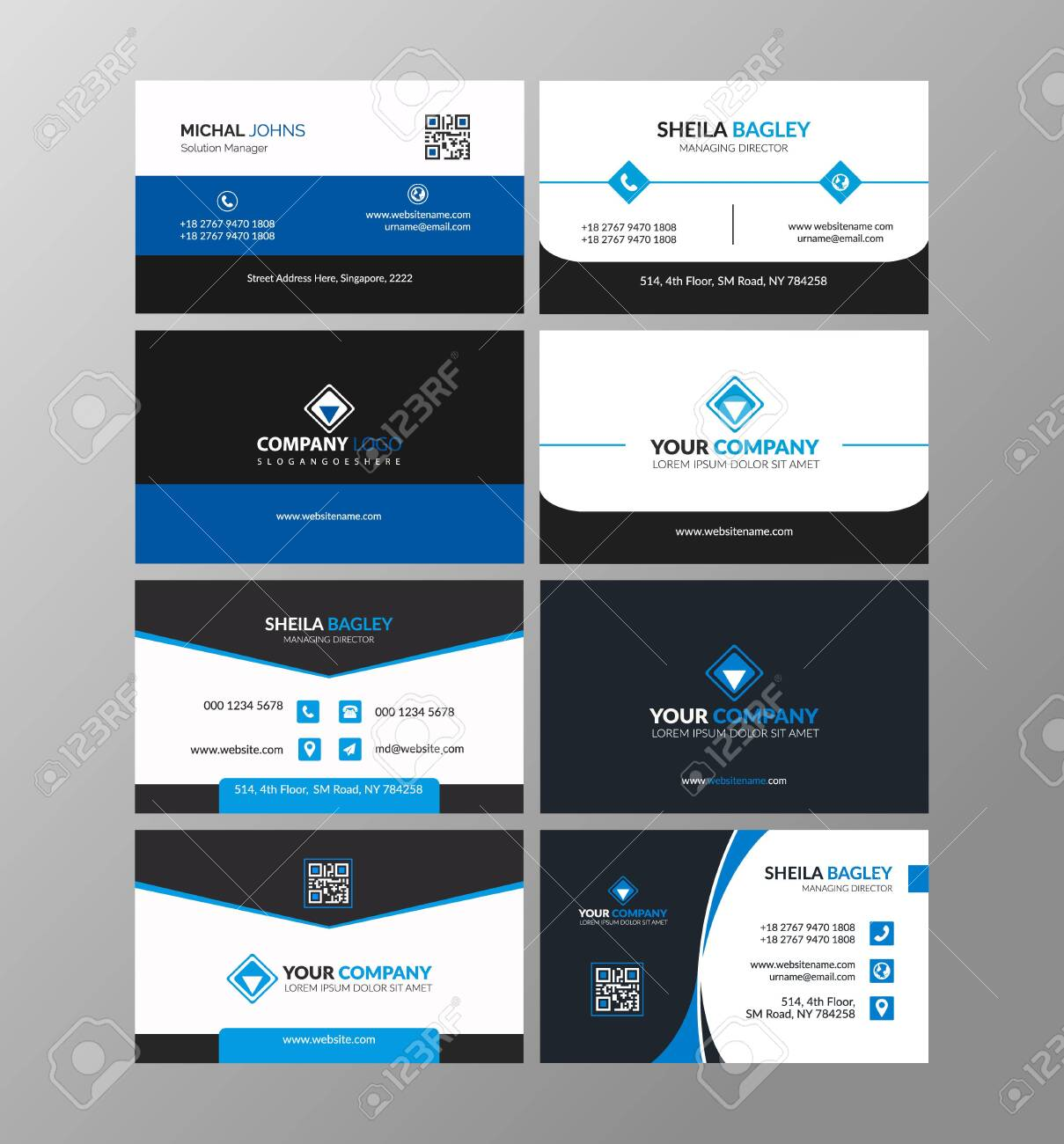 Blue modern creative business card and name card,horizontal simple clean template vector design, layout in rectangle size - 139183338
