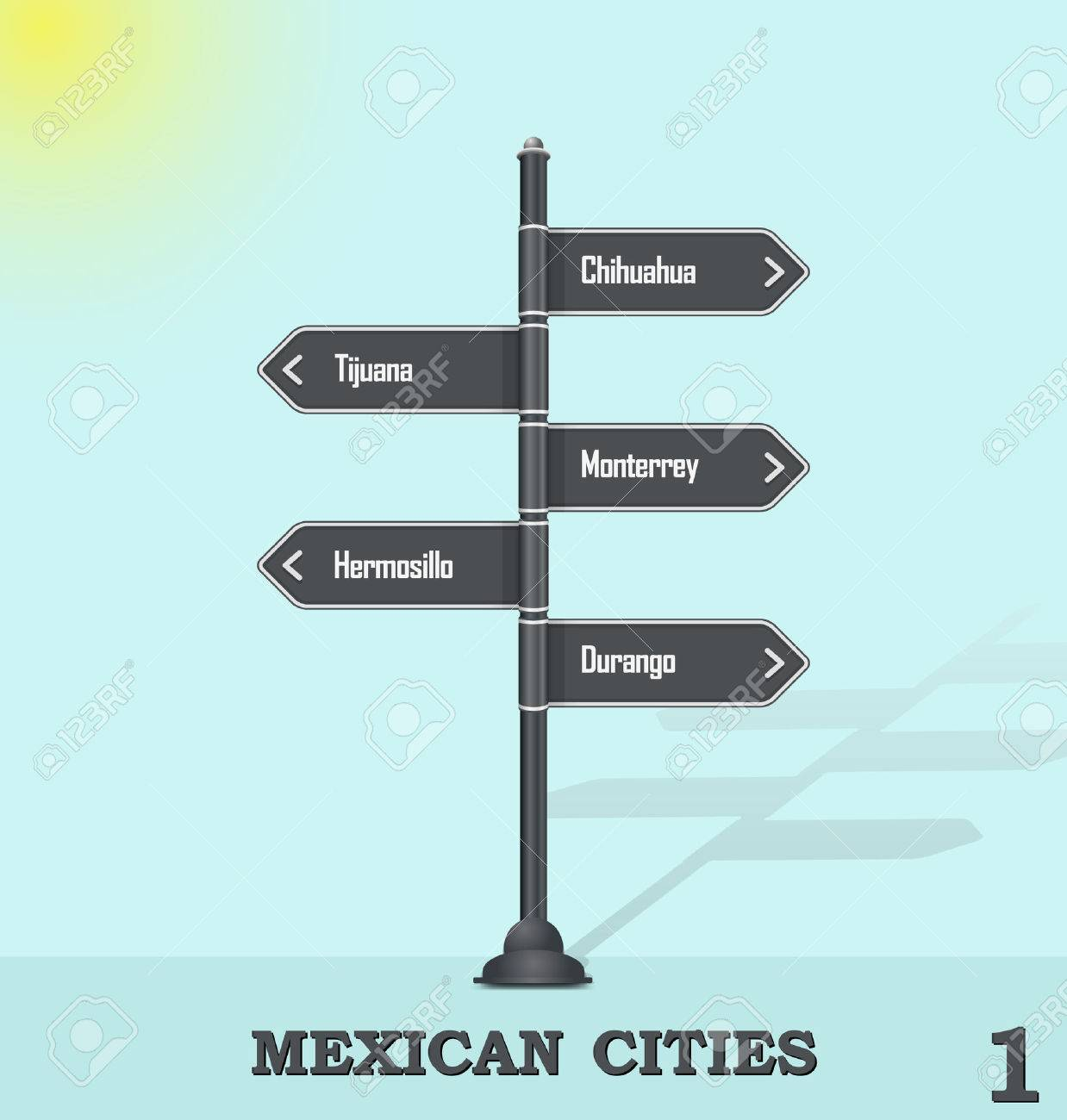 road sign post mexican cities 1 royalty free cliparts vectors