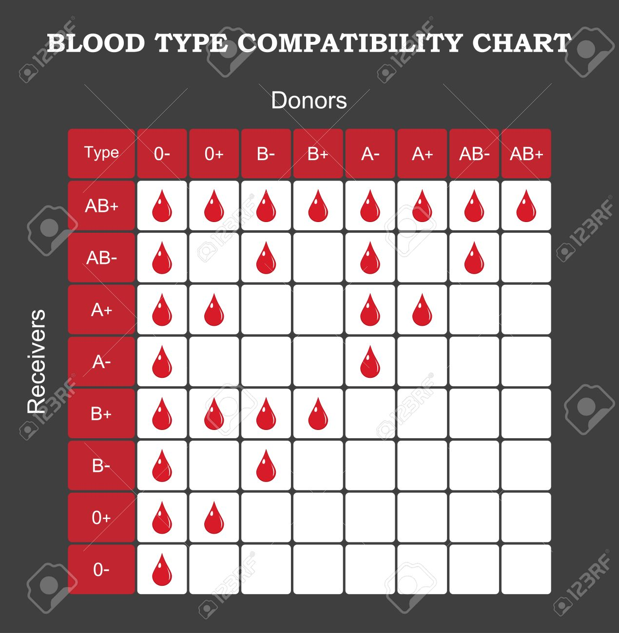Blood type compatibility chart royalty free cliparts vectors and
