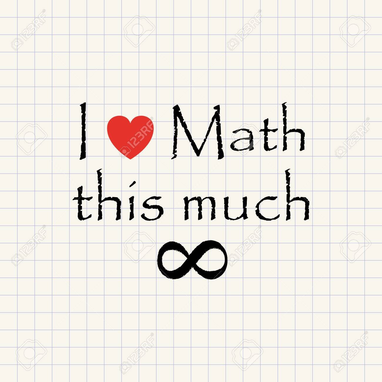 i love math - mathematical funny inscription template royalty free
