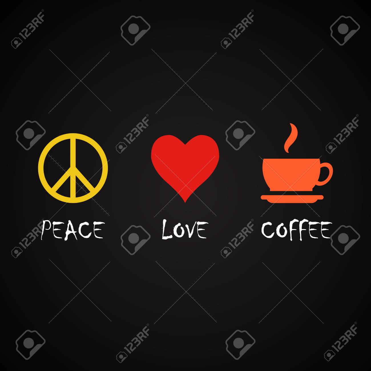 Peace And Love Coffee Coffee Quotes Template Royalty Free Cliparts