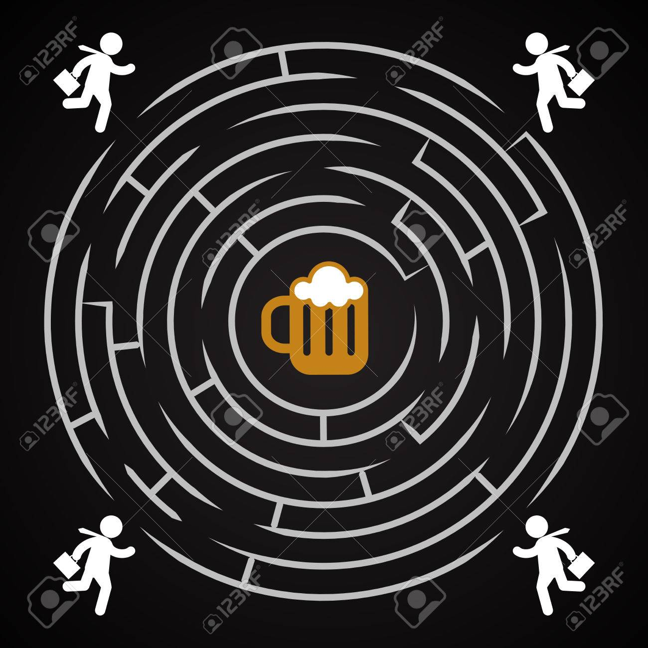 Beer Labyrinth - Business Man Run For A Mug Of Beer Background ...