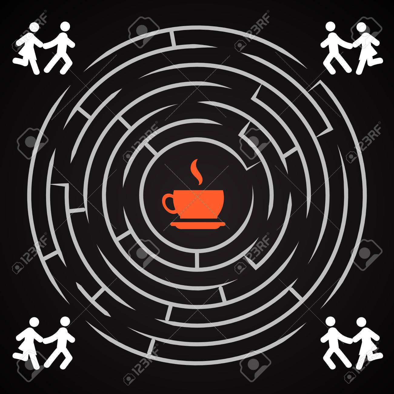 Coffee Labyrinth - Couple Run For A Cup Of Coffee Background ...