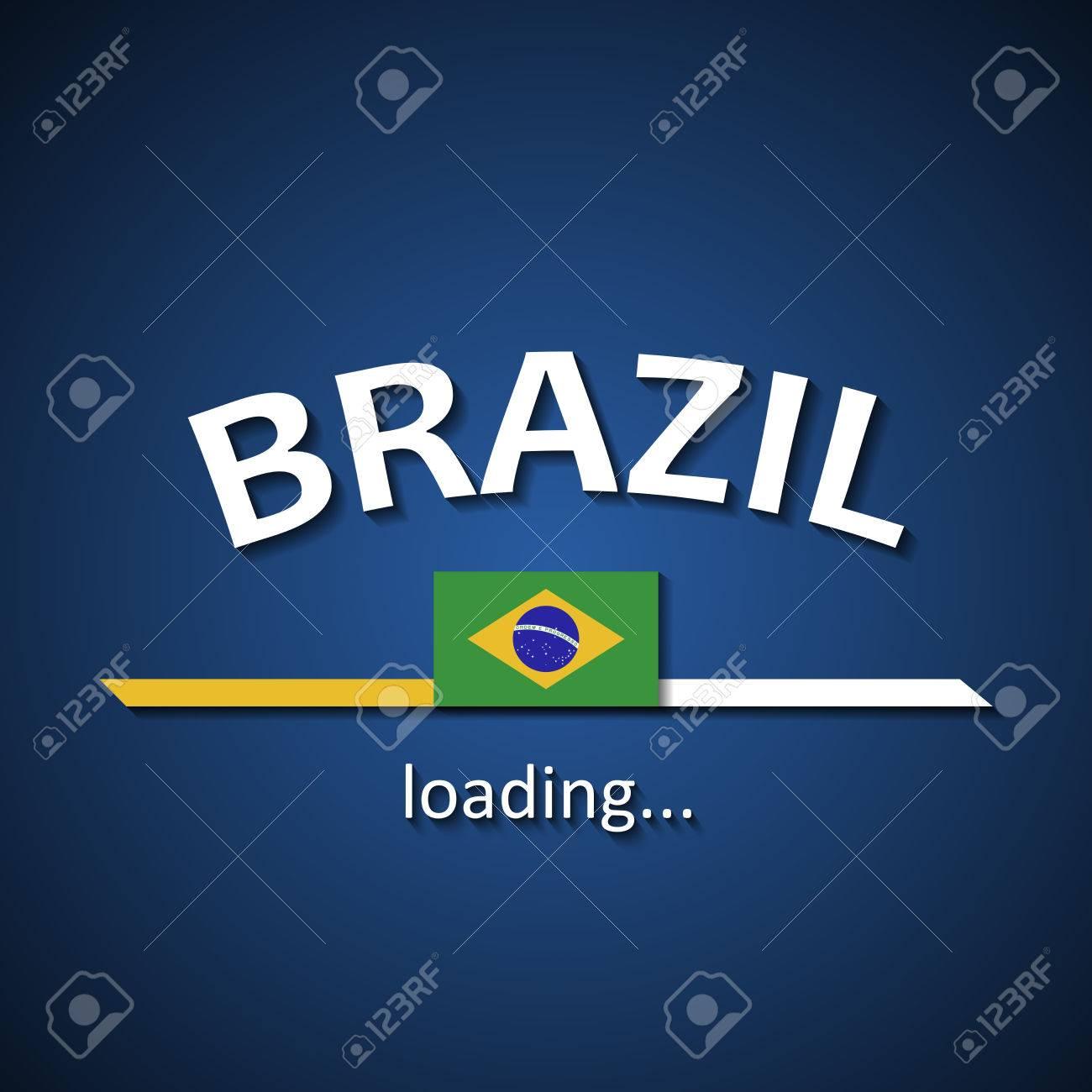 Brazilian flag loading bar - tourism banner for travel agencies