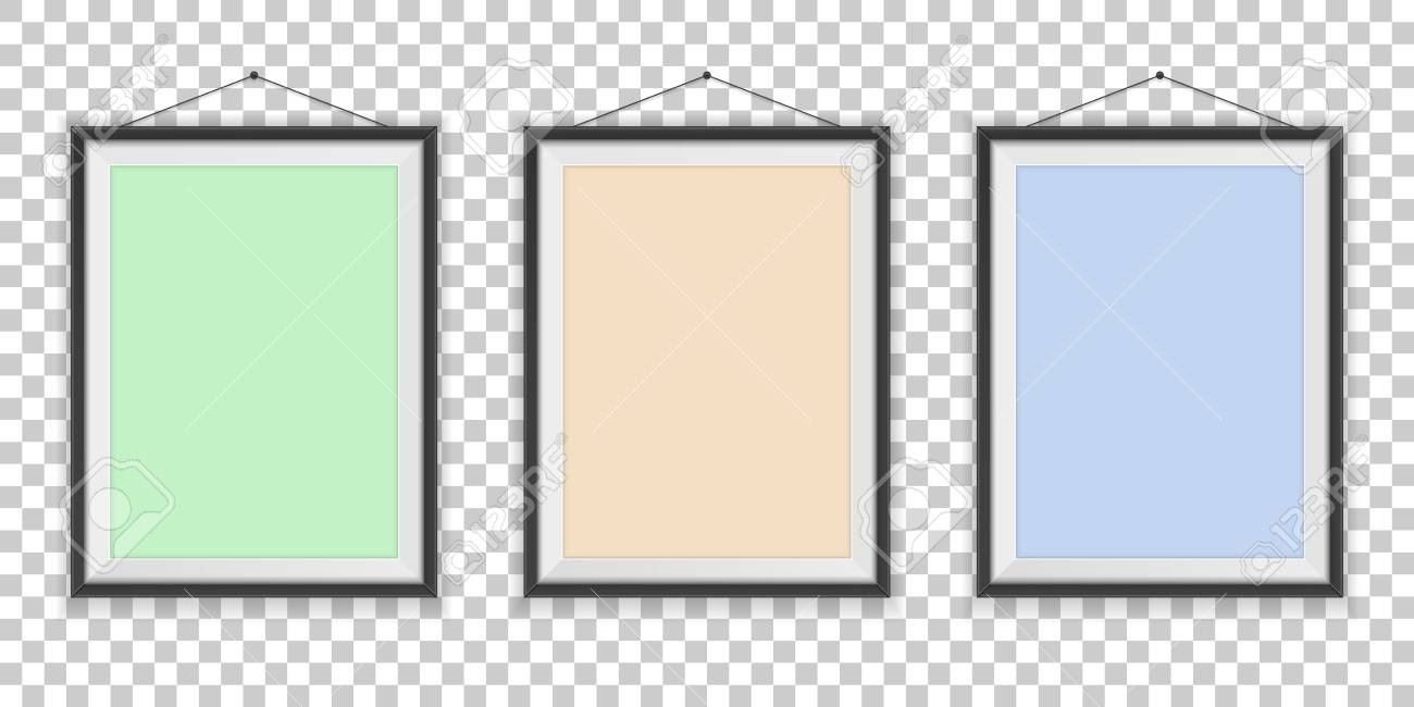 Different Types Of Photo Frames On The Empty Wall Background