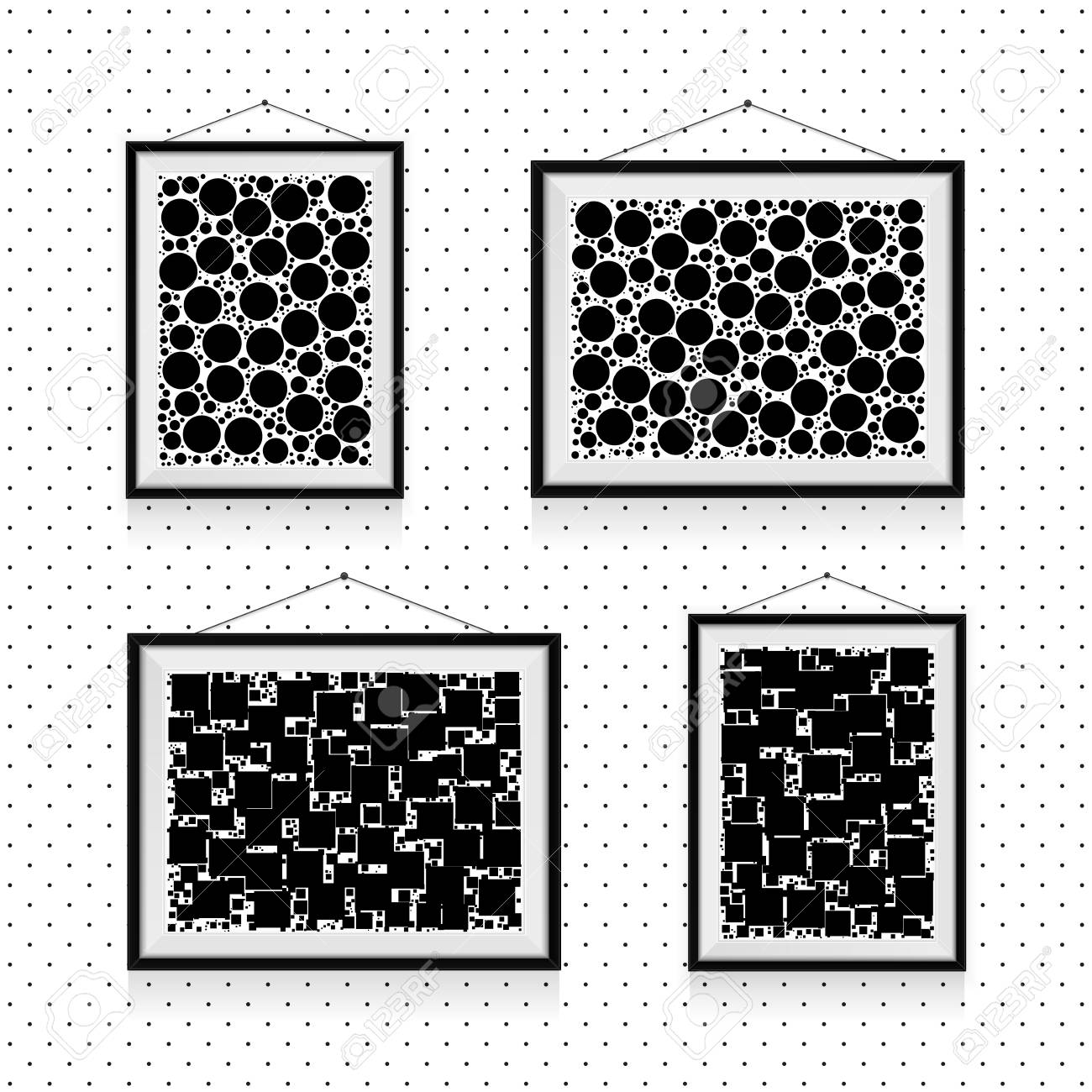 Different Types Of Simple Photo Frames With Circles And Squares