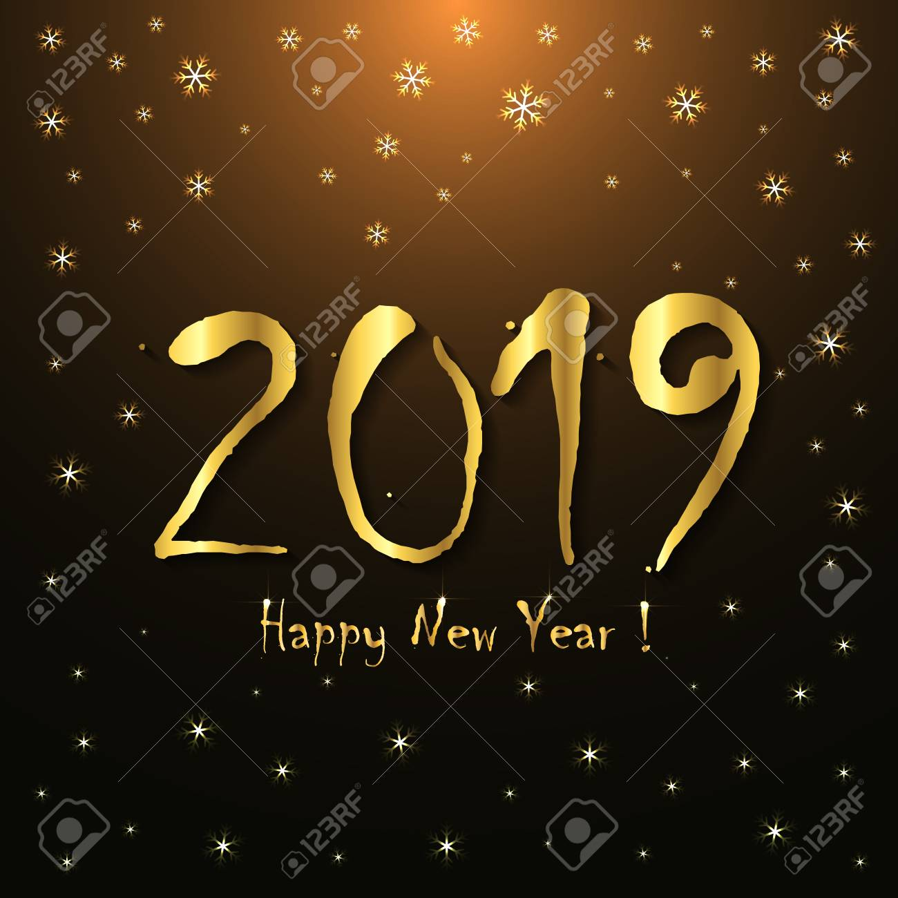 2019 happy new year greeting card template golden snowflakes design stock vector