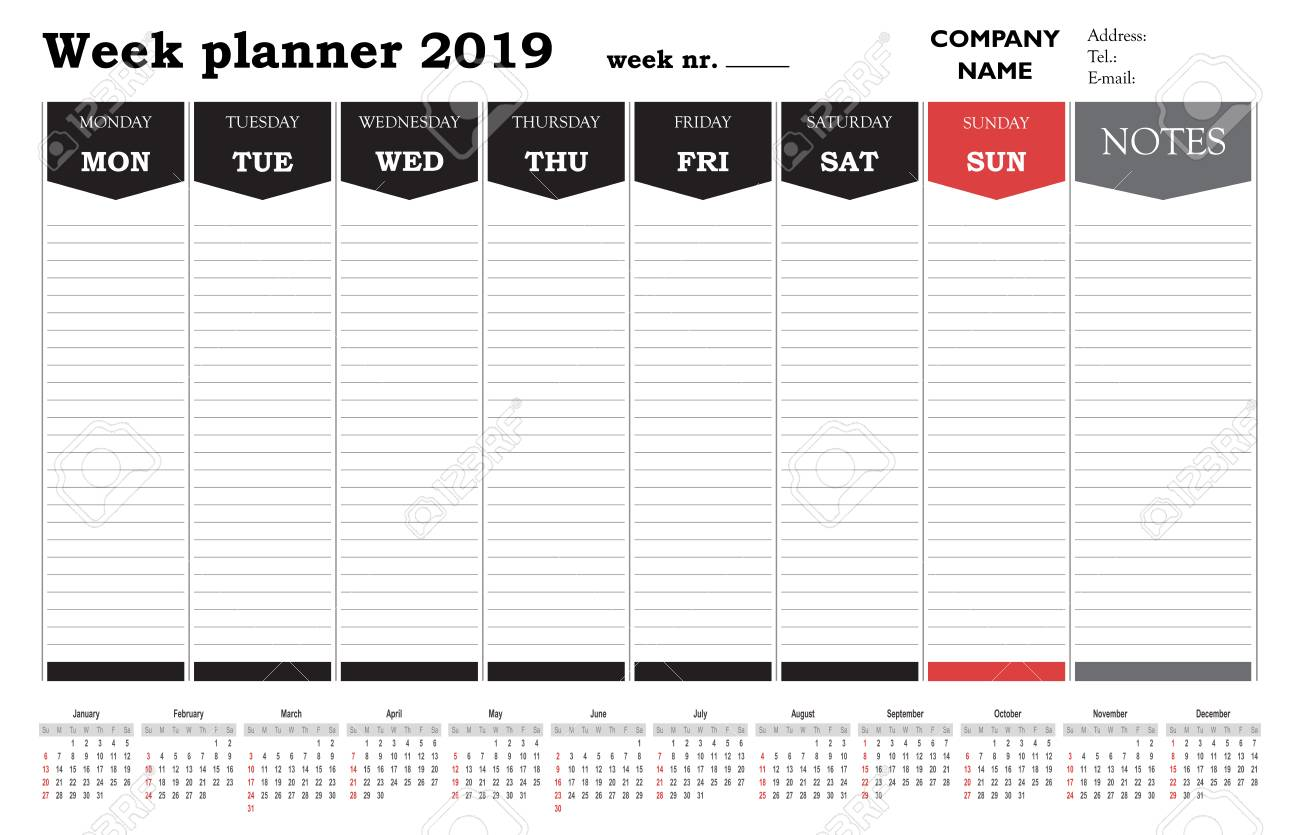 Schedule Calendar 2019 Week Planner 2019 Calendar, Schedule And Organizer For Companies