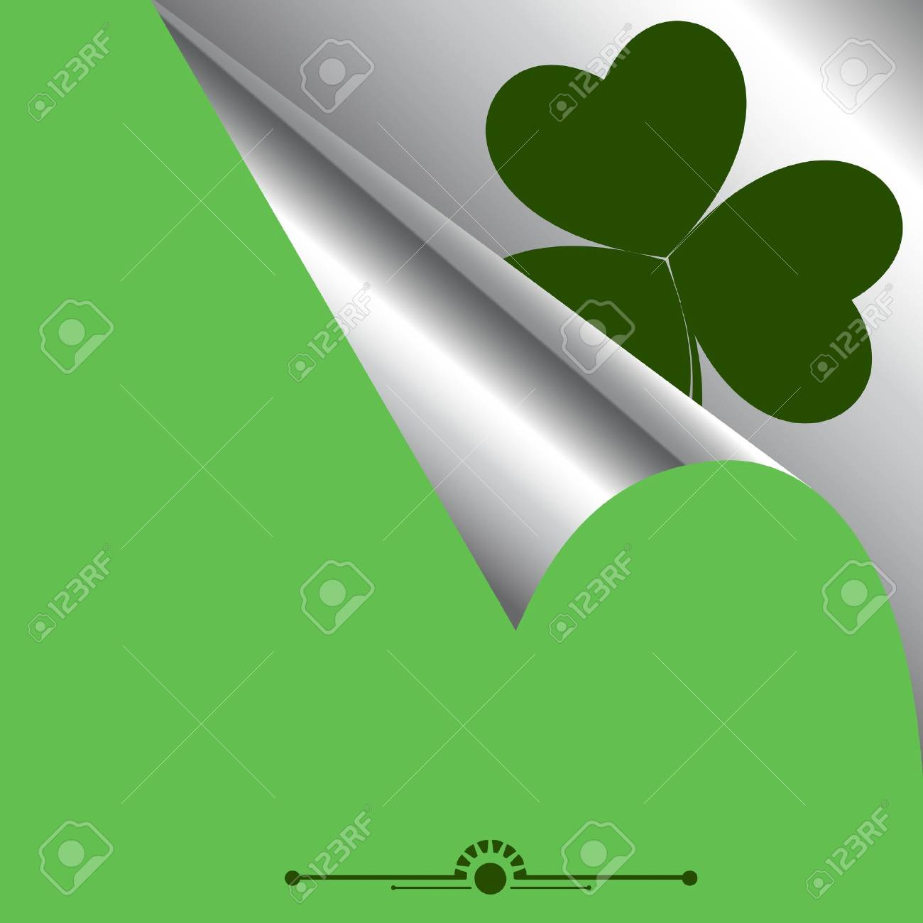 Curled Paper with Shamrock Background Stock Vector - 12654445