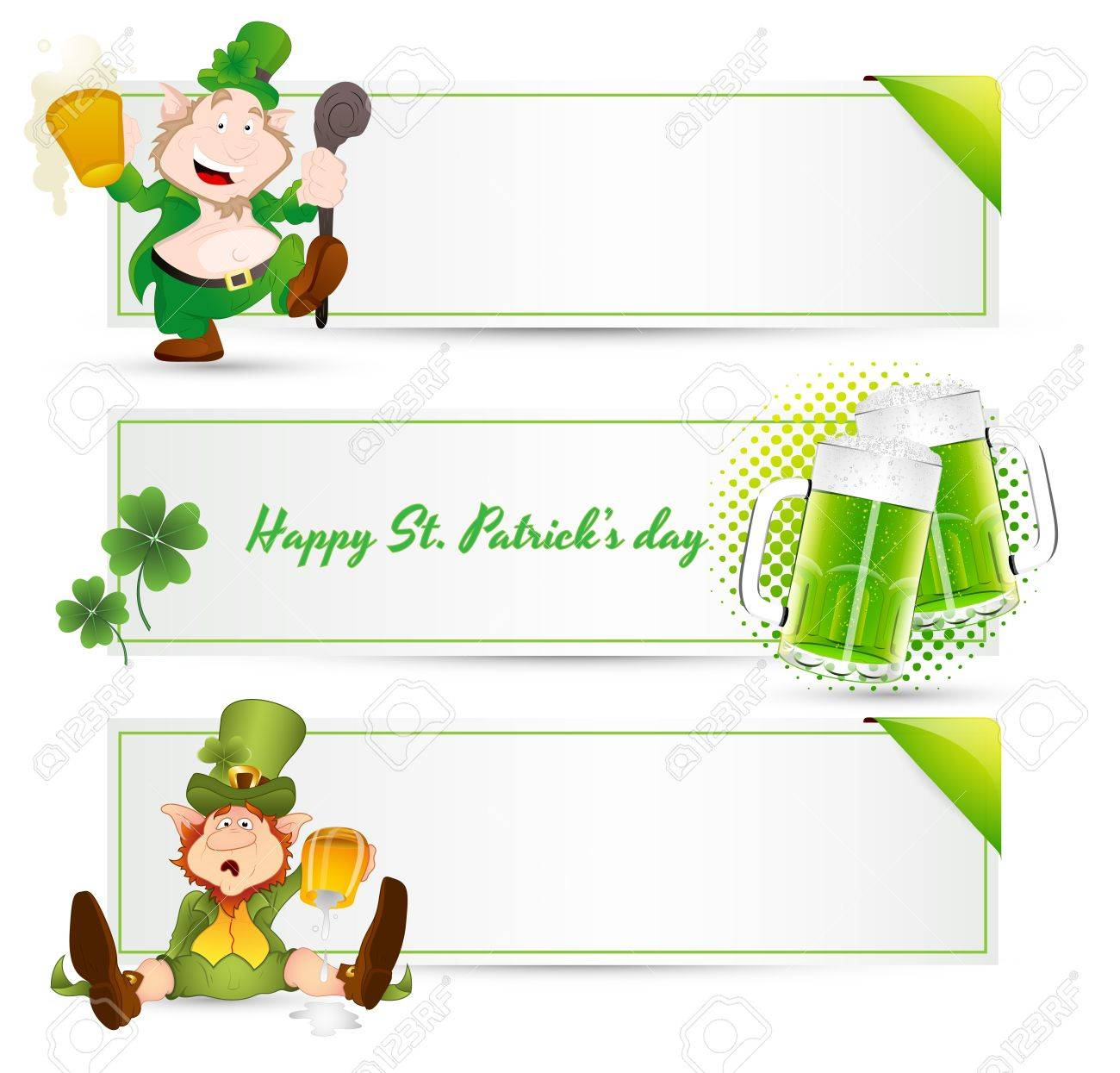 St  Patrick's Day Leprechaun Banners Stock Vector - 12655121