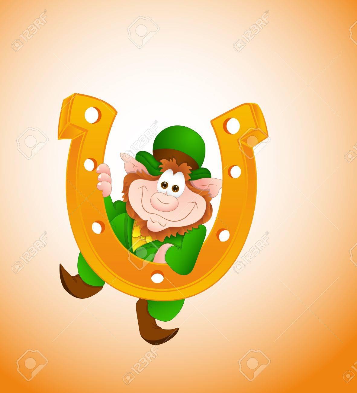 Funny Leprechaun with Horseshoe Stock Vector - 12654924